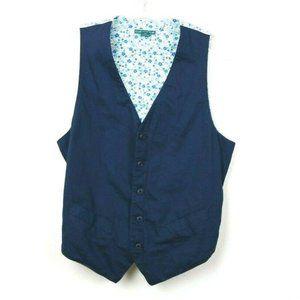 Cubavera Mens Vest Buttons Pockets Adjustable Navy